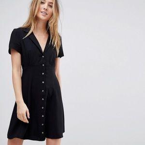 ASOS TALL Button Through Mini Skater Dress (black)